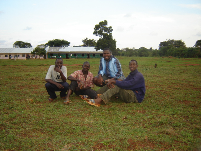 John Kinene, John Mugabi, Moses Babu and all are helping construct the dining hall.
