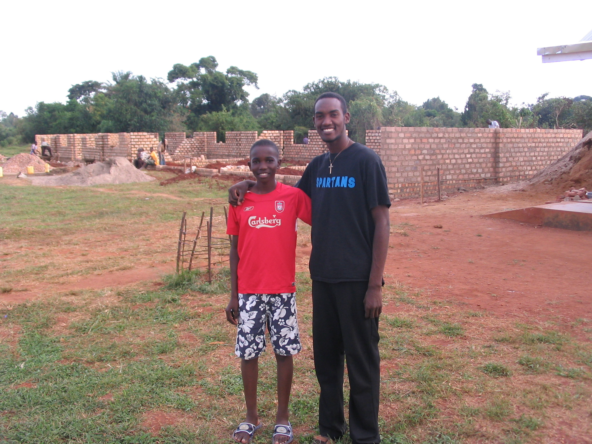 Moses and Isaac--in the background is the construction of the 6 new classrooms!