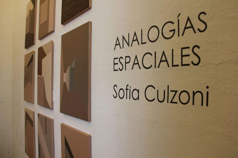 """Pared de muestra con texto """"Analogías espaciales"""" Sofía Culzoni"""