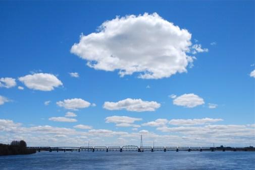 Le Pont Champlain depuis le parc Jean-Drapeau