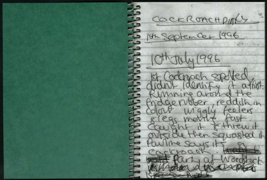 inside cover cockroach diary