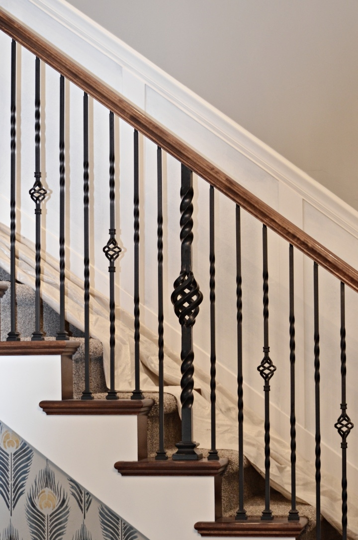 Staircase Makeover How To Install Molding Remington Avenue | Knotty Alder Stair Railing | Distressed | Diy | Interior | Indoor | Wood