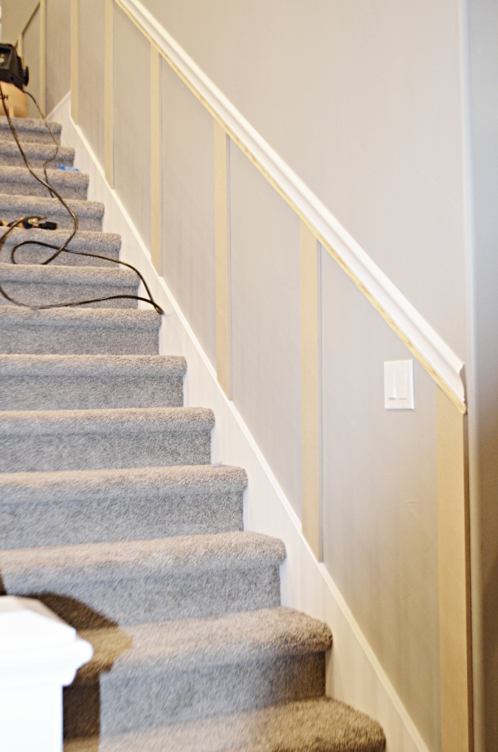Staircase Makeover How To Install Molding Remington Avenue | Chair Rail On Stairs | Double | Traditional | Stained Wood | Remodeling | Wainscoting