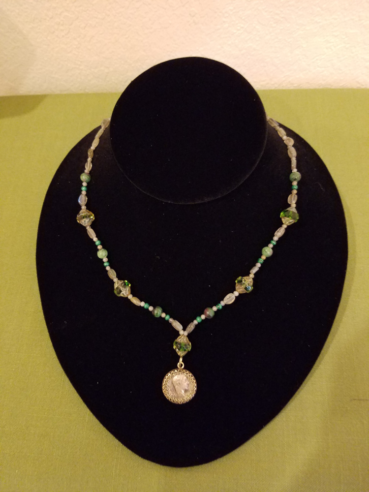 Roman denarius with green glass beads and labradorite necklace