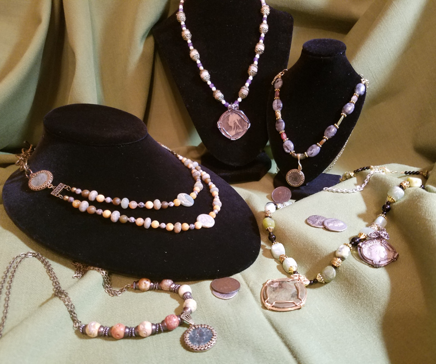 collection of Reminted Jewelry pieces and Roman and Victorian Coins