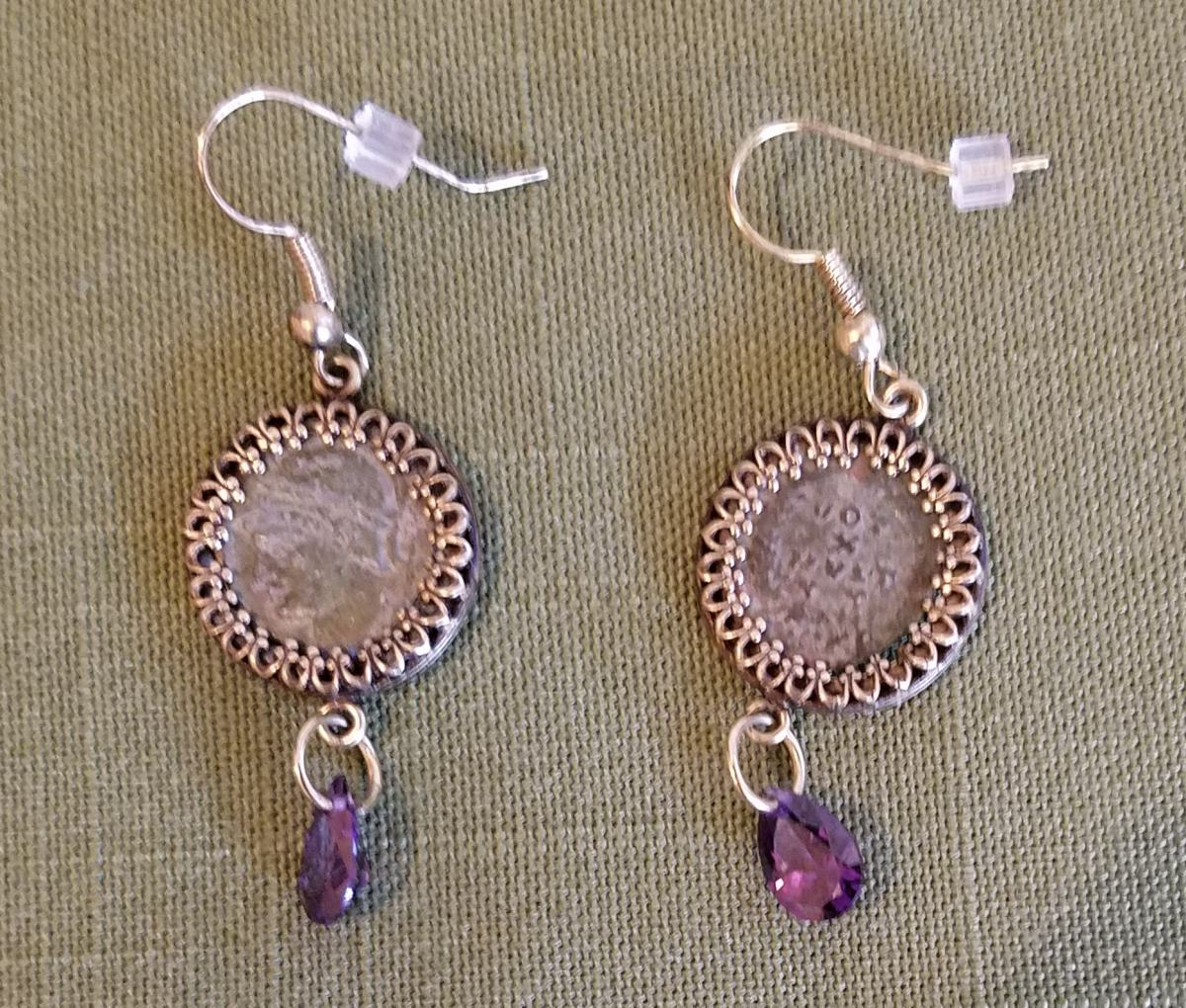 Roman coin earrings with purple drops