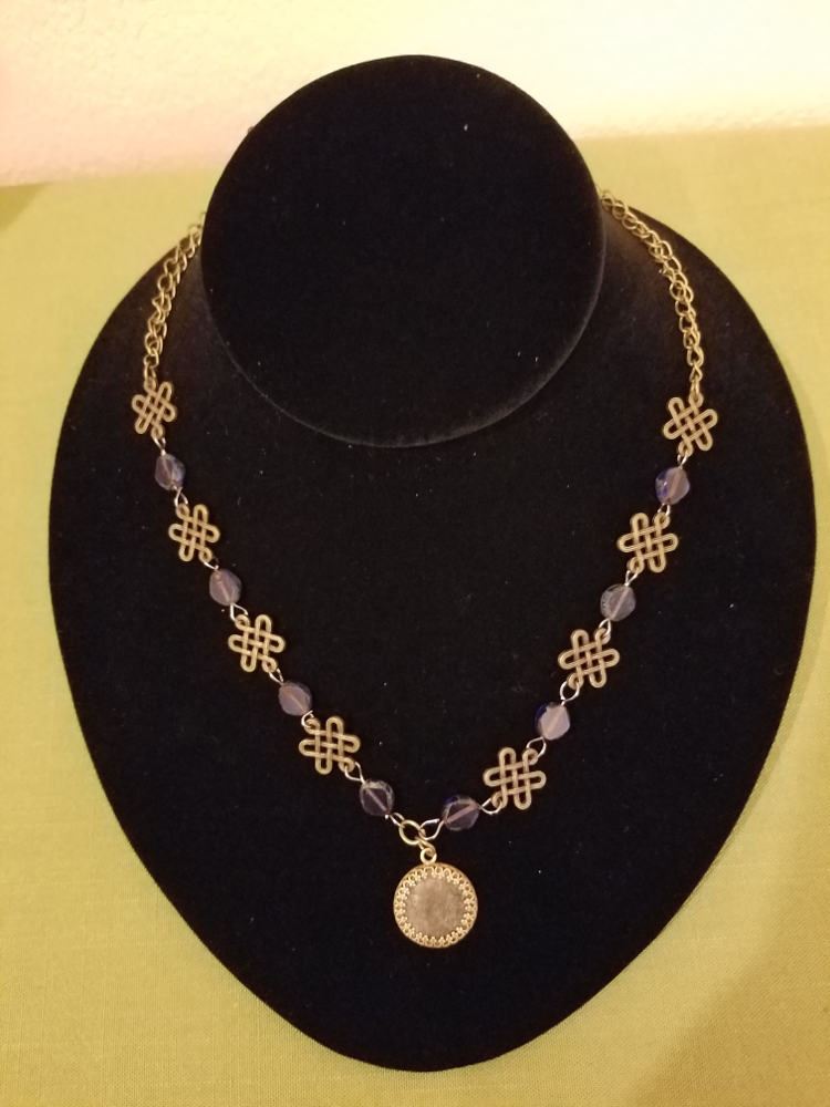 Knotwork and blue beads with Roman coin necklace