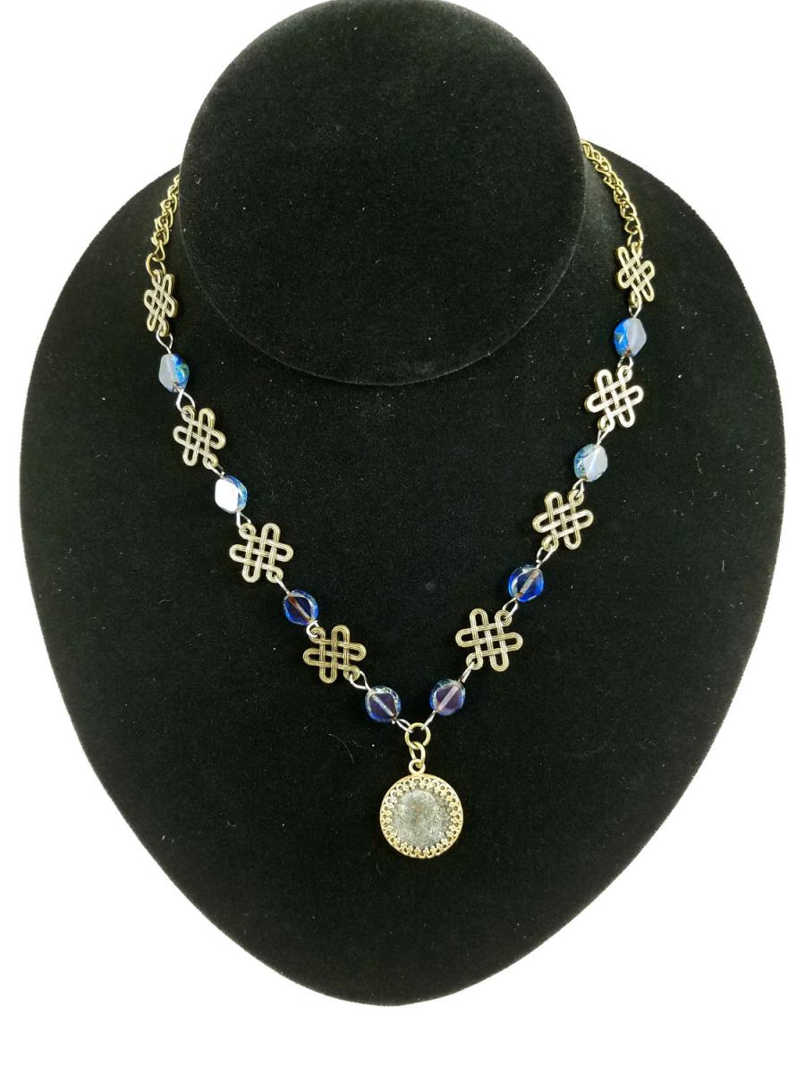 Roman coin necklace with knotwork and blue glass beads