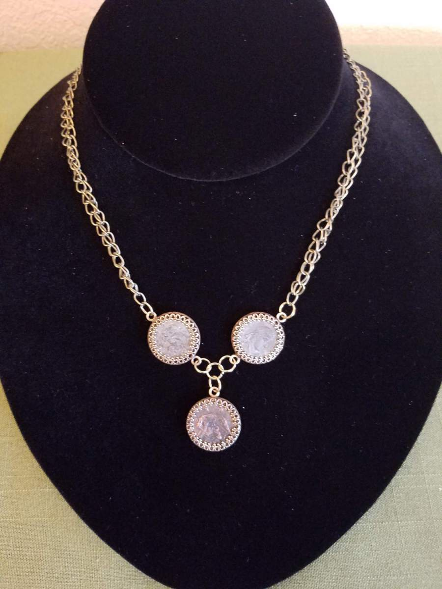 Three Roman coin necklace on antique brass chain