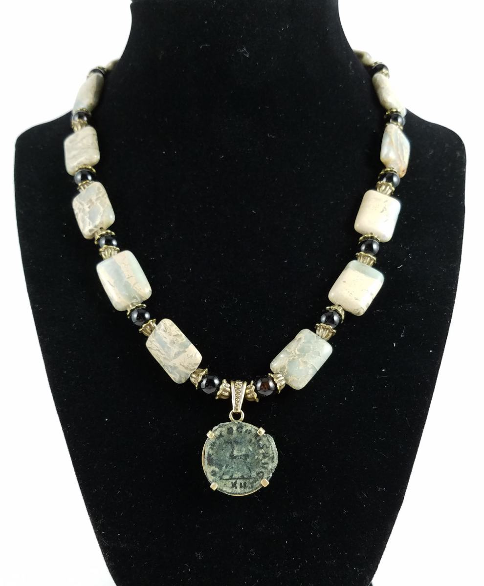 Roman coin necklace with jasper rectagular beads