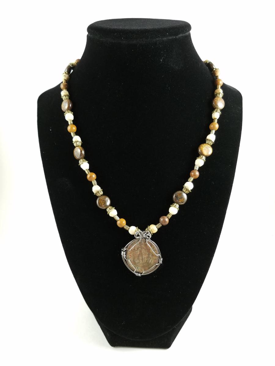 Roman coin in gunmetal wire-wrap and brown and white beads
