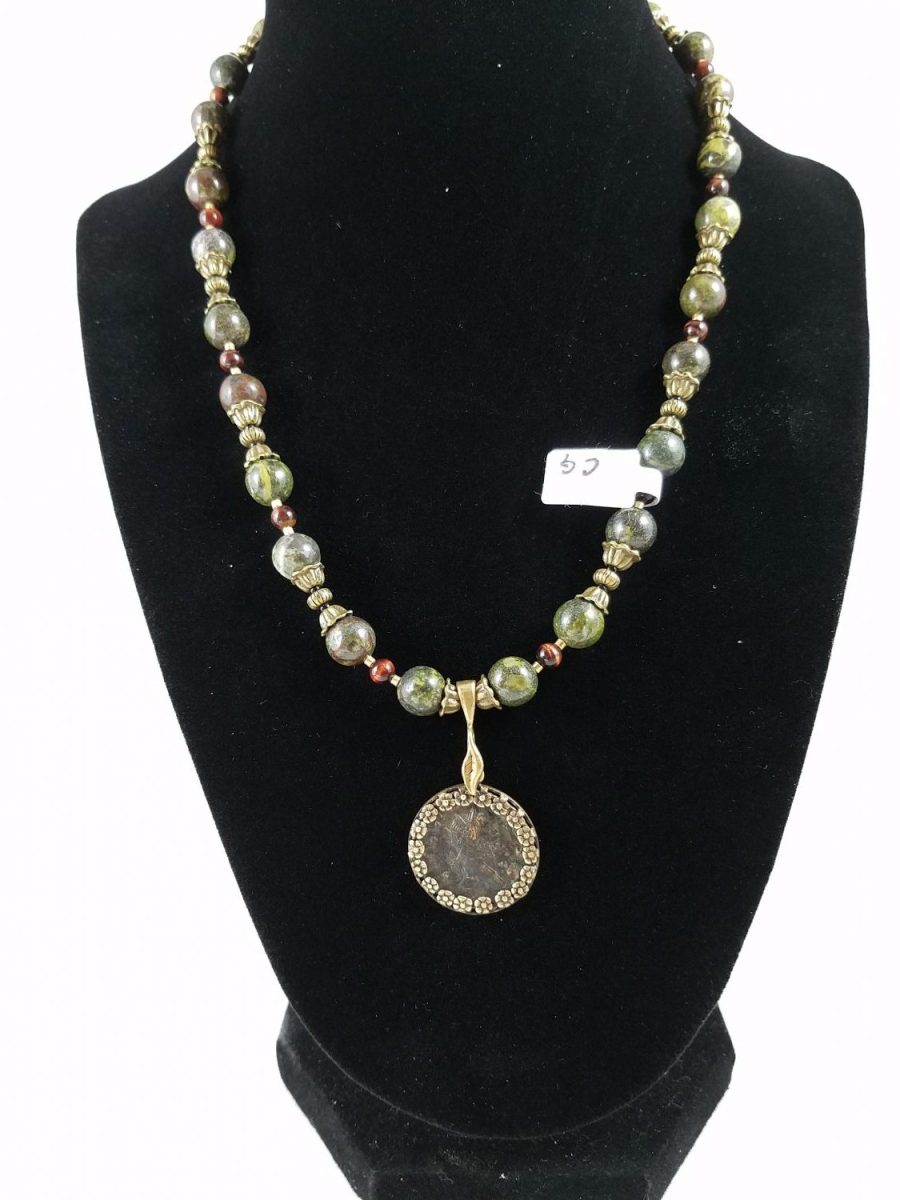 Necklace with dragon blood jasper and Roman coin