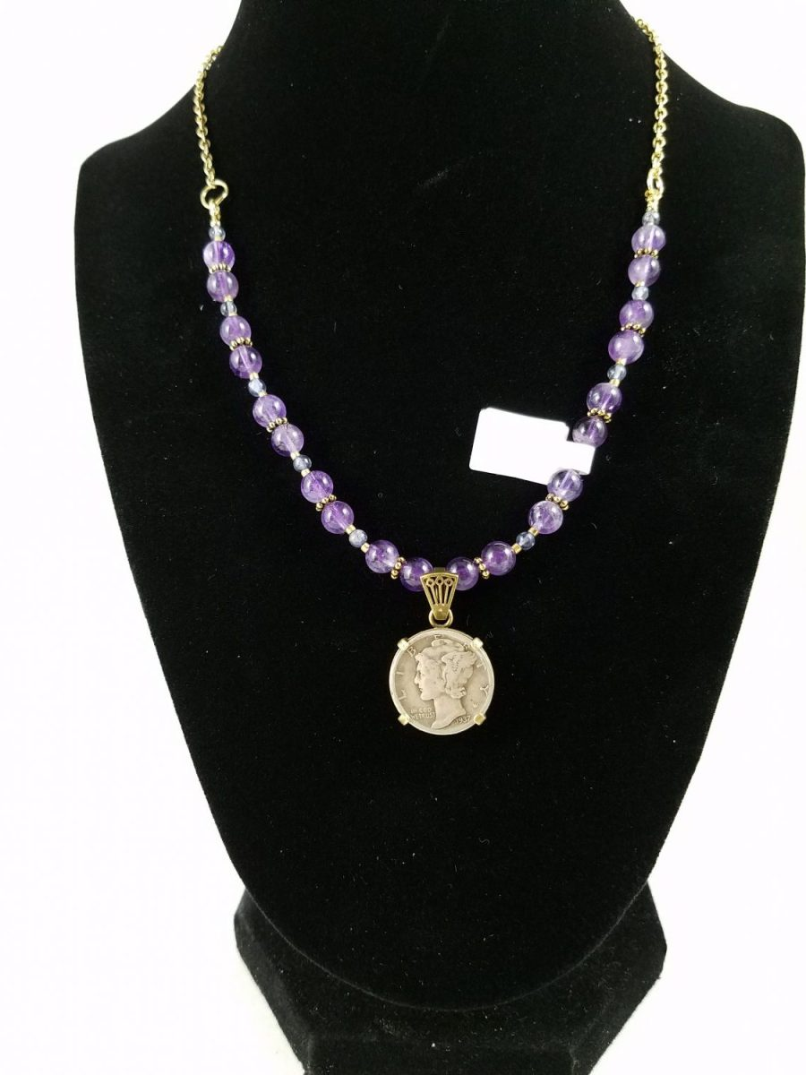 Necklace with American silver coin and amethyst