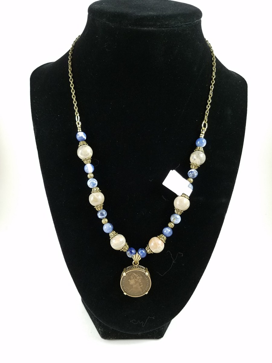 Necklace with Victorian farthing and blue and white beads
