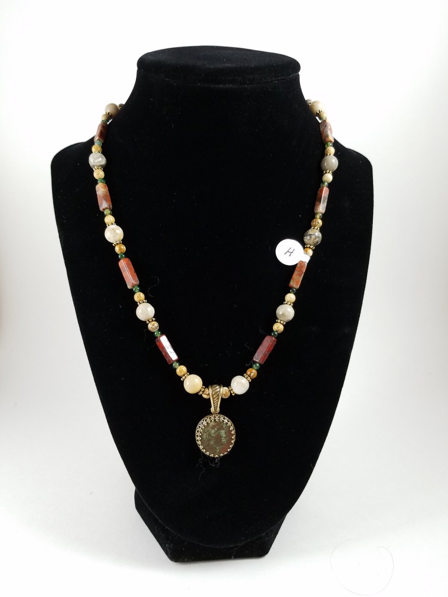necklace with Hellenistic coin with red and white beads