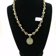 Necklace with Roman coin and dragon blood jasper