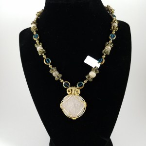 Necklace with silver Victorian florin, teal glass and white beads
