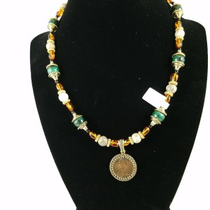 necklance with Victorian farthing, green malachite and amber