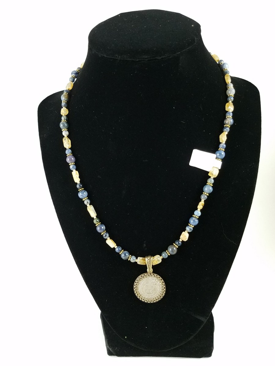 Necklace with Renaissance Polish coin and yellow and blue beads