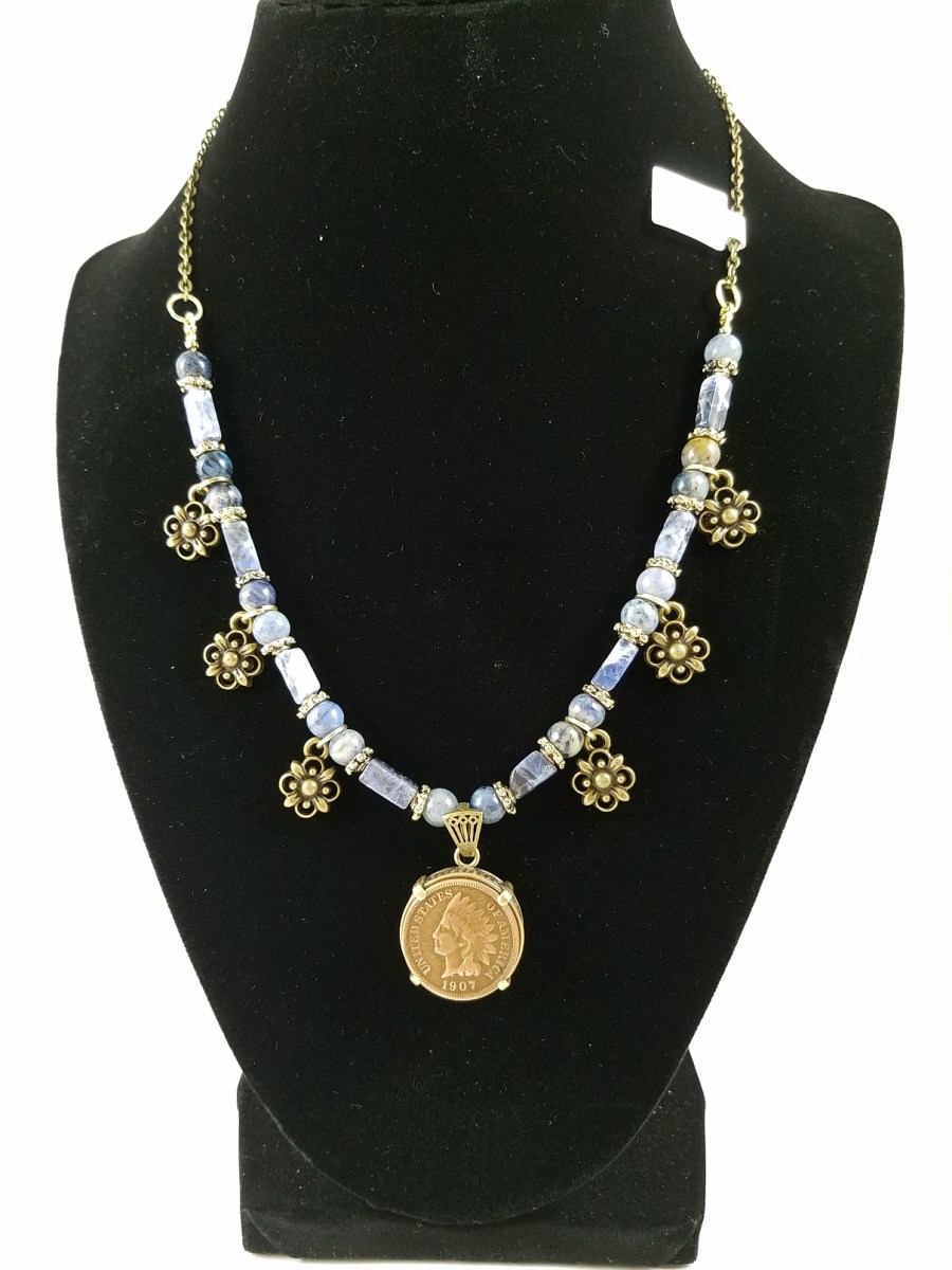 necklace with American indian head penny and blue sodalite with flowery accents