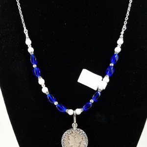 American Mercury dime on necklace with bright blue glass beads
