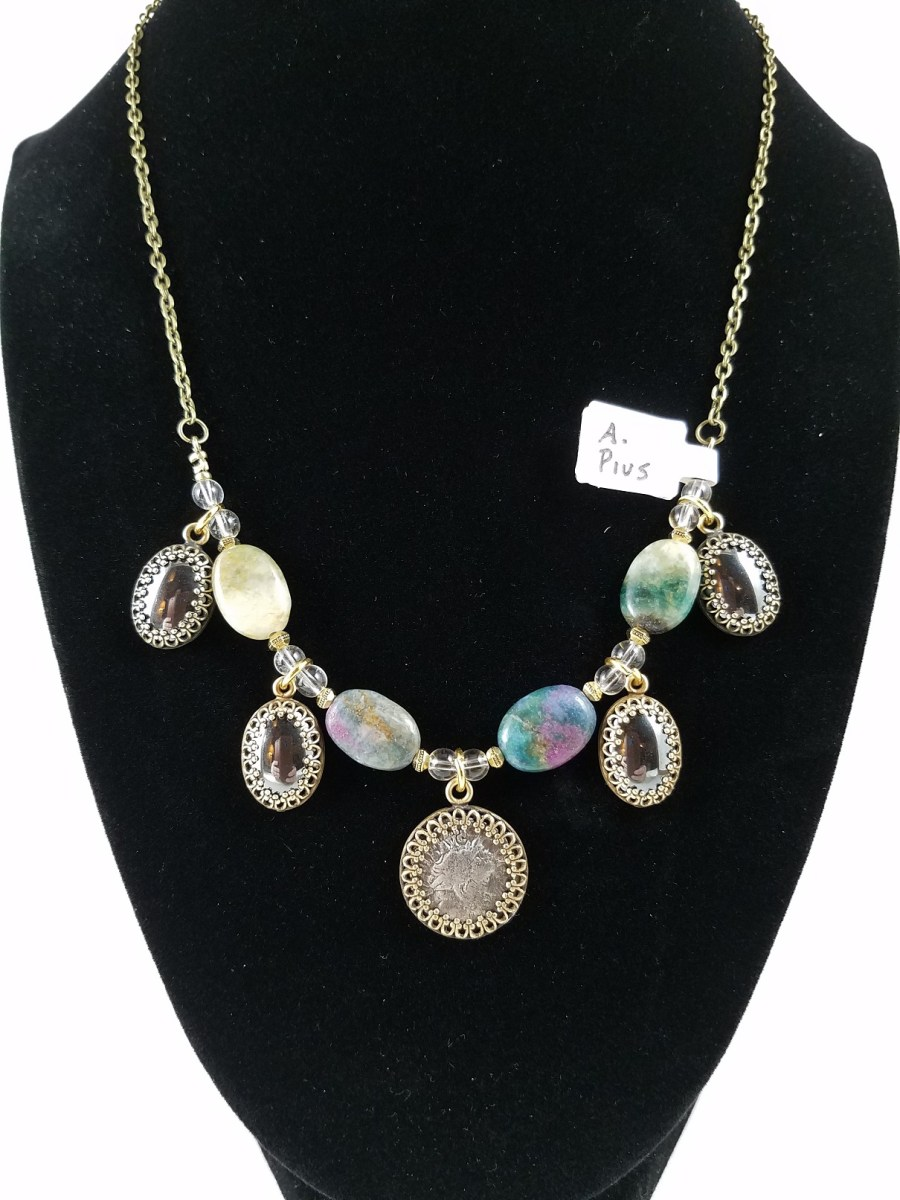 necklace with Roman silver denarius and multi-colored kyanite fused with ruby and hemalyke cabochons