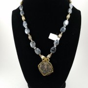 Necklace with Roman coin bearing an eagle with labradorite beads