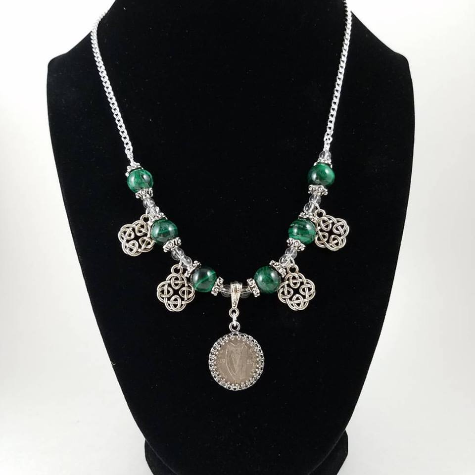 Necklace with Irish coin, knotwork beads and green malachite