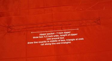 step 8 - measure for zip pocket