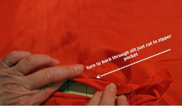 step 9 - fold pocket to back side of liner