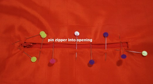 step 12 - pin zipper into opening