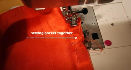 sew, using about 1/2 inch seam, all way around pocket