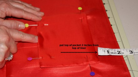 step 18 - pin in place, sew around two sides and bottom with 1/4 inch seam