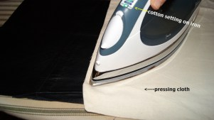 BE SURE TO USE A PRESSING CLOTH WITH LEATHER!
