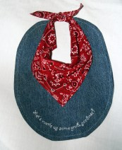 denim and bandana, hand embroidered