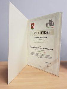 Certyfikat – Partner Miasta Lublin