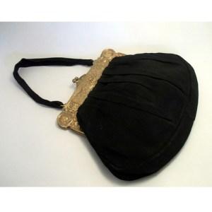 art deco satin purse grecian gold clasp-the remix vintage fashion