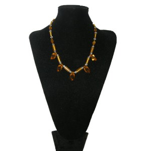 art deco crystal amber necklace-the remix vintage fashion