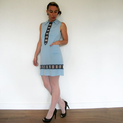 60s a line mini dress blue daisy trim-the remix vintage fashion