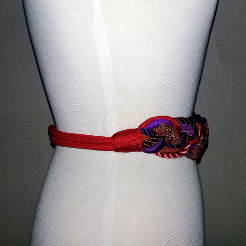 80s cording belt red purple mauve-the remix vintage fashion