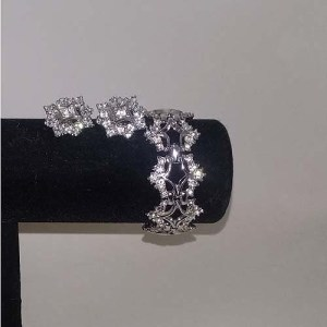 60s rhinestone bracelet earring set silver-the remix vintage fashion