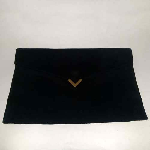 shirl miller ltd usa clutch black suede 70s 80s-the remix vintage fashion