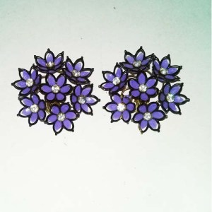 60s daisy earrings purple clusters rhinestones-the remix vintage fashion