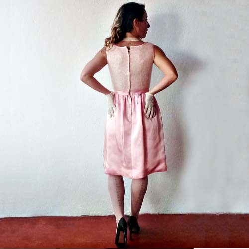 60s wiggle dress pink satin bow belt-the remix vintage fashion