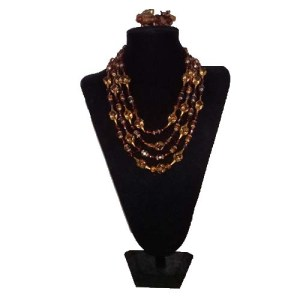 Caramel Gold Lucite Multi Strand Necklace Earring Set-the remix vintage fashion