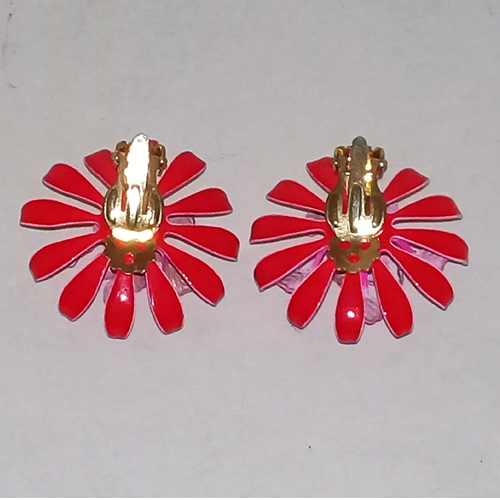 daisy mod pink earrings flower power hippy jewelry-the remix vintage fashion
