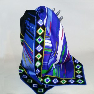 emilio pucci silk scarf abstract pattern blue green black-the remix vintage fashion