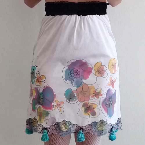 mod flower mini skirt transformed vintage lingerie sliptique-the remix vintage fashion