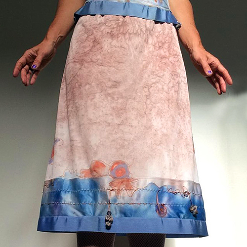 slip skirt boho blue revamped lingerie-the remix vintage fashion