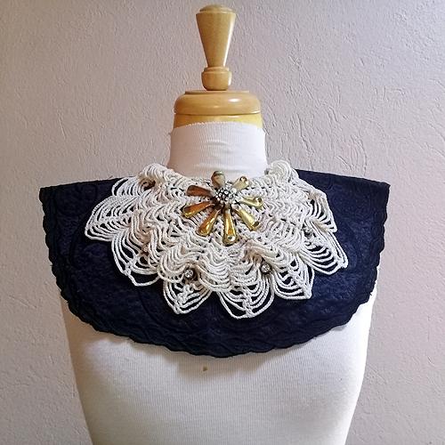 bib collar necklace black satin-the remix vintage fashion